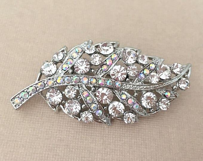 Rhinestone & Platinum Leaf Brooch Pin