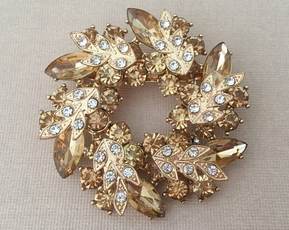 Champagne Rhinestone Wreath Brooch Pin