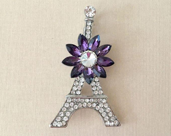 Eiffel Tower Rhinestone Brooch Pin