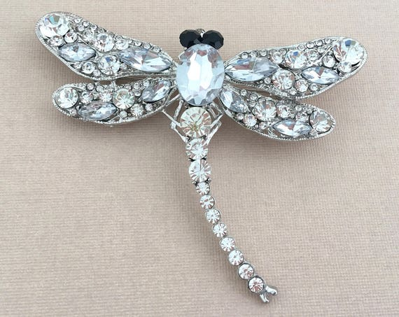 Large Dragonfly Rhinestone Brooch Pin