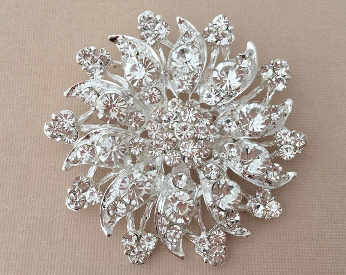 Silver Flower Rhinestone Brooch Pin