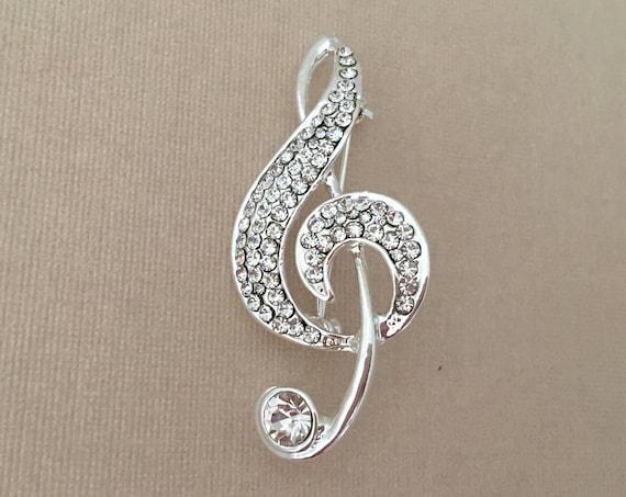 Silver Treble Clef Brooch.Treble Clef Brooch.Music brooch.Treble Clef Crystal Brooch.Treble Pin.Treble Clef Broach.Rhinestone.Marching Band
