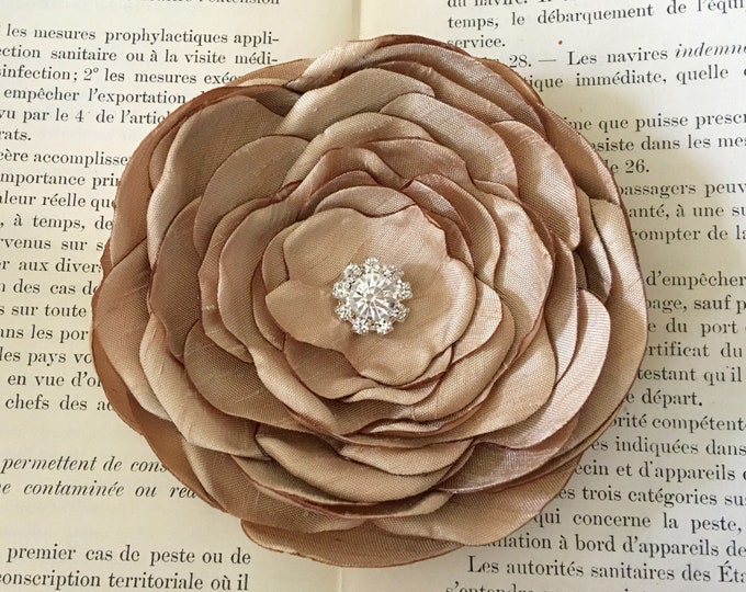 Gold Silk Fabric Flower Brooch Pin or Hair Clip. Choose your size and button/bead finish. Handmade.