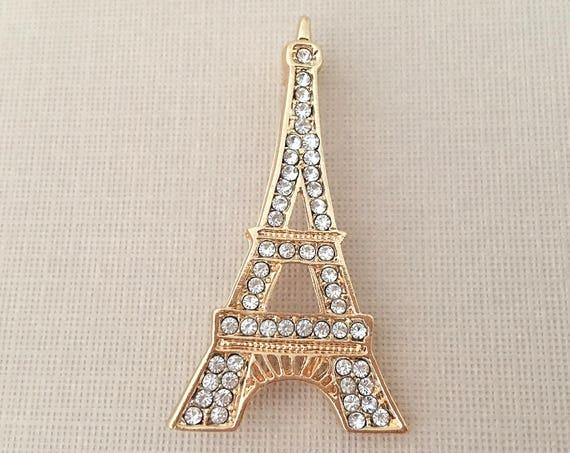 Gold Eiffel Tower Rhinestone Brooch Pin