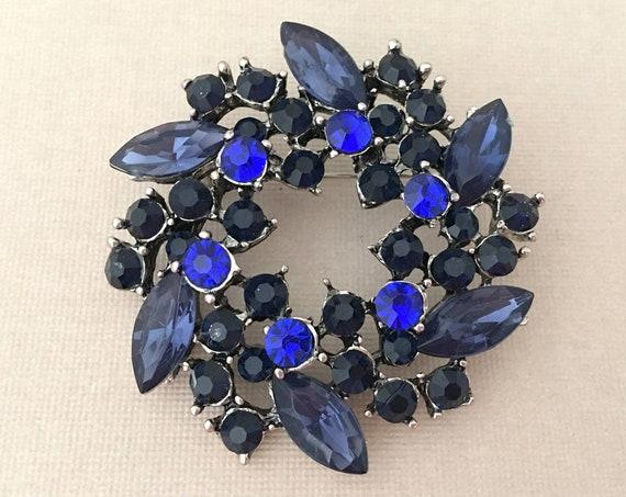 Navy Blue Rhinestone Wedding Brooch Pin