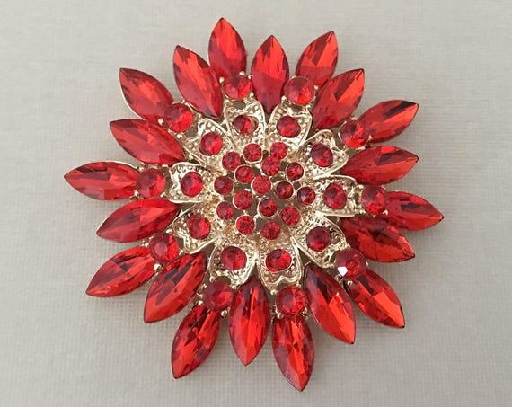 Poppy Red Crystal & Rhinestone Brooch Pin