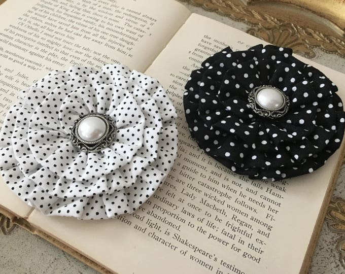 Black & White Polka Dot Flower Hair Clip and/or Brooch Pin. Choose your button/bead finish. Handmade.
