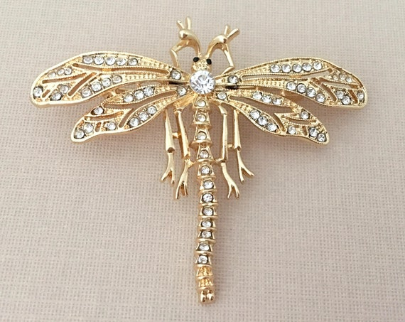 Gold Dragonfly Rhinestone Brooch Pin