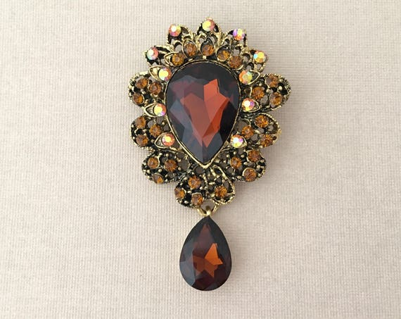 Topaz & Antique Gold Rhinestone Brooch Pin