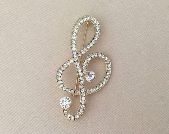 Treble Clef Brooch.Gold Treble Clef Brooch.Music brooch.Treble Clef Crystal Brooch.Treble Clef Pin.Broach.Rhinestone.Marching Band