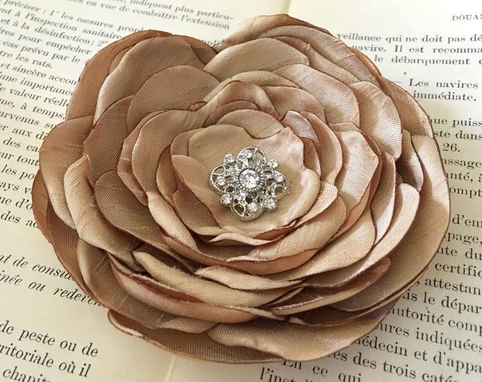 Gold Silk Fabric Flower Brooch Pin or Hair Clip. Choose your size and button/bead finish.