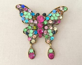 Multi-color Butterfly Brooch.Rhinestone Butterfly Brooch.Crystal Butterfly Brooch.Multicolor Butterfly Pin.Butterfly Broach.antique gold