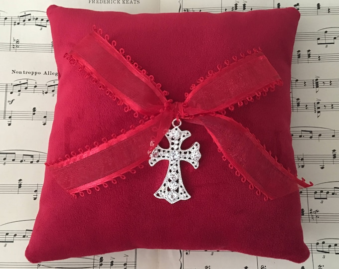 Handmade red velvet ring bearer pillow