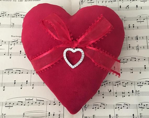 Red Velvet Heart Ring Bearer Pillow
