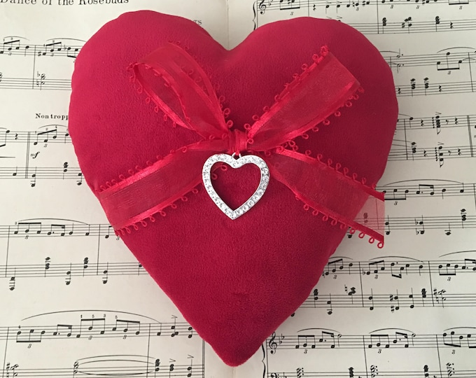 Red Velvet Heart Ring Bearer Pillow