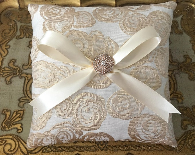 Rose Gold & Ivory Ring Bearer Pillow. Handmade.