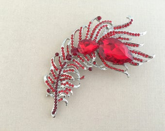 Red Feather Brooch.Red Crystal Feather brooch.Red Rhinestone Brooch.Red Rhinestone Pin.Wedding accessory.Bridal Brooch.Red broach.Large pin