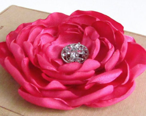 Fuchsia Pink Satin Flower Hair Clip or Brooch Pin.Choose your size and button/bead finish.