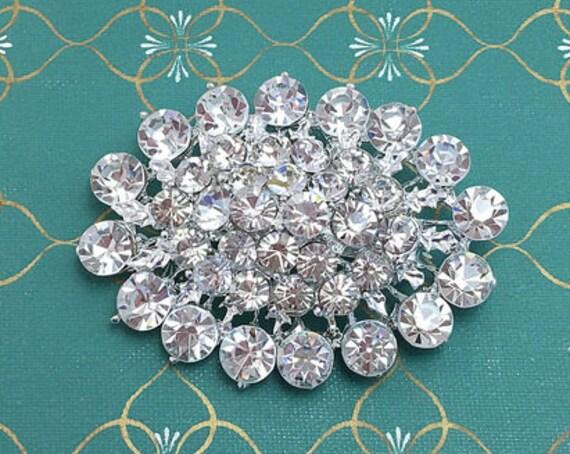 Crystal Clear & Silver Oval Rhinestone Brooch