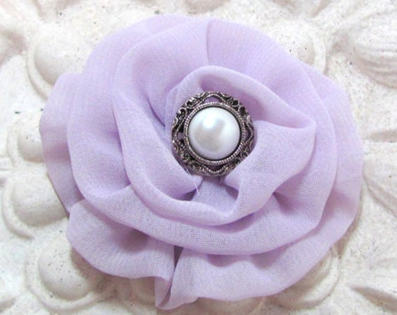 Small Lavender Fabric Flower Hair Clip, Brooch Pin, or Hair Pin. Choose your button finish. Handmade.