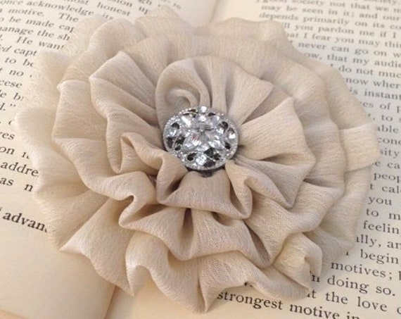 Champagne Fabric Flower Brooch Pin and/or Hair Clip. Choose your button/bead finish. Handmade.