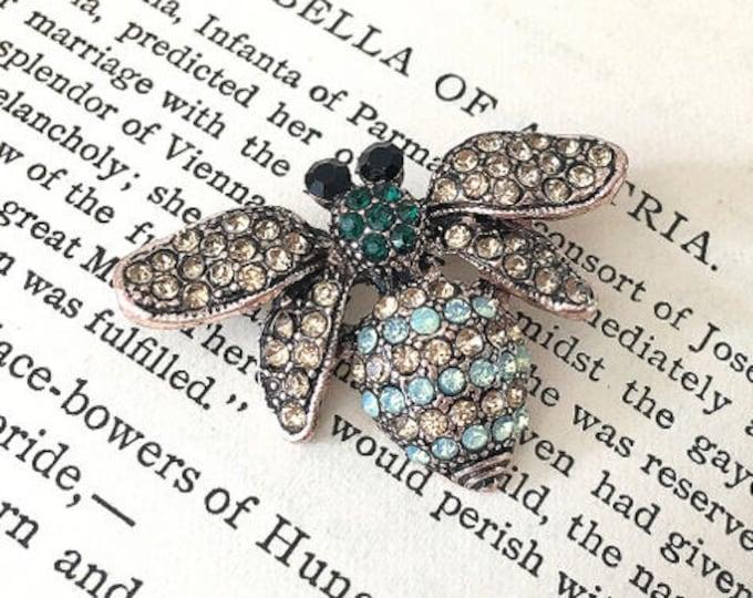 Bee Brooch.ROSE GOLD Brooch.Rhinestone Brooch.Rose Gold Bee brooch.Bridal brooch.Bee Pin.Wedding Accessory.Bridal Bouquet Brooch Pin.Broach