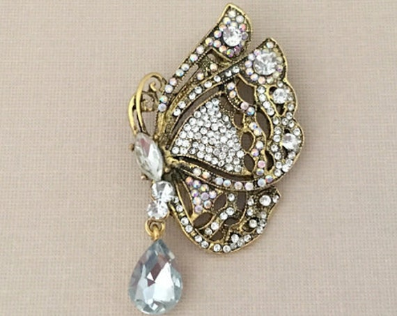 Antique Gold Rhinestone Butterfly Brooch Pin