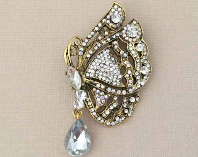 Antique Gold Rhinestone Butterfly Brooch Pin and Pendant