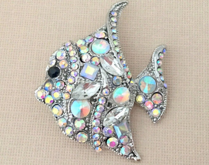 Silver & Rhinestone Fish Brooch Pin