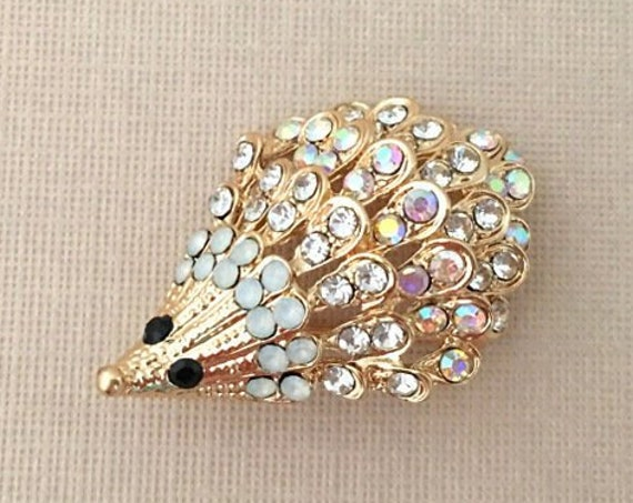 Gold & Rhinestone Hedgehog Brooch Pin