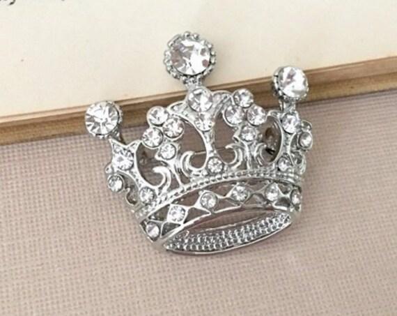 Silver Crown Pin.Silver Tiara Brooch.Bridal Brooch.Silver Crown Brooch.crystal crown.Crown broach.Wedding accessory.crown pin.Platinum plate