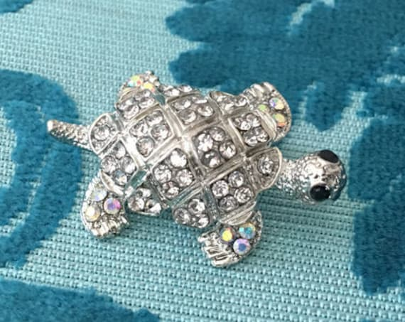 Aurora Borealis Turtle Brooch Pin