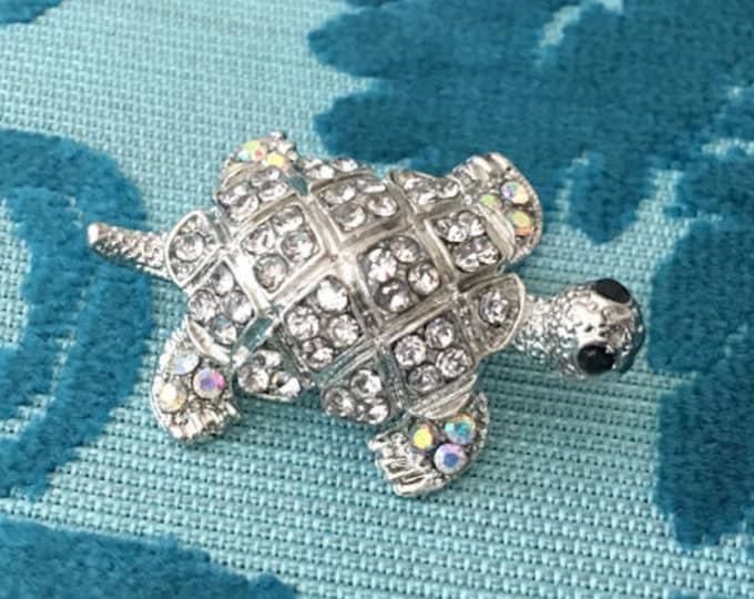 Aurora Borealis Turtle Brooch Pin