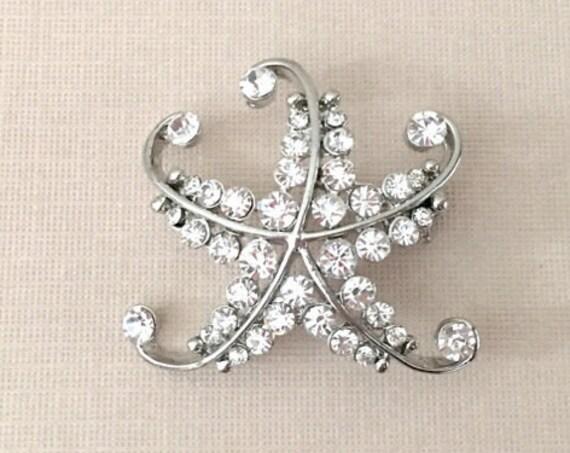 Rhinestone & Silver Starfish Brooch Pin