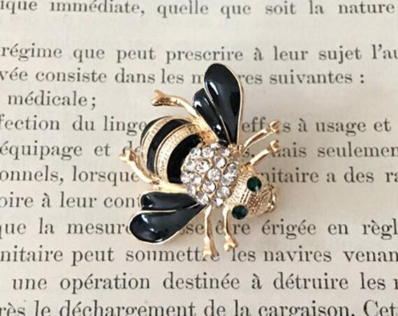 Bee Brooch.Black Bee Brooch.Rhinestone Bee Brooch.Black Enamel Crystal Bee Pin.Brooch for Bridal Bouquet.Gold Rhinestone Black bee Brooch