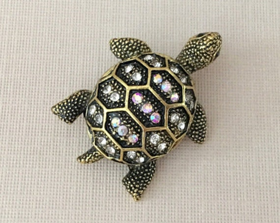Antique Gold Turtle Brooch Pin