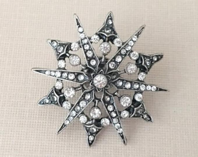 Antique Silver & Rhinestone Starburst Lapel Pin