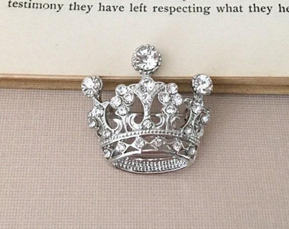 Silver Rhinestone Crown Brooch Pin