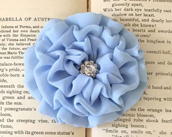 Light Blue Fabric Flower Brooch Pin and/or Hair Clip. Choose your button/bead finish. Handmade.