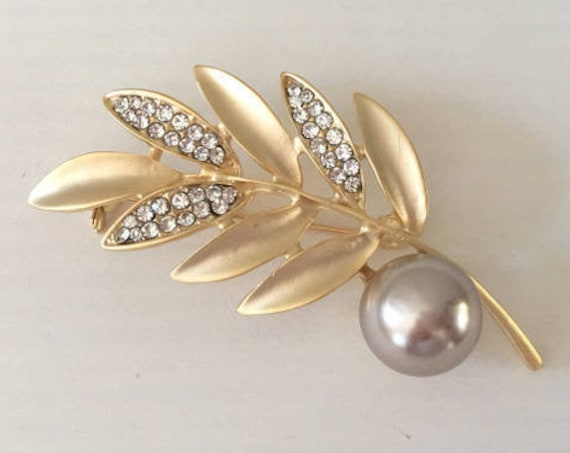 Gold Leaf Rhinestone Brooch Pin