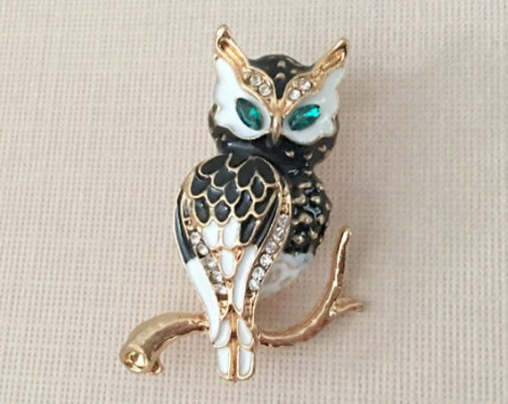 Enamel Owl Brooch Pin