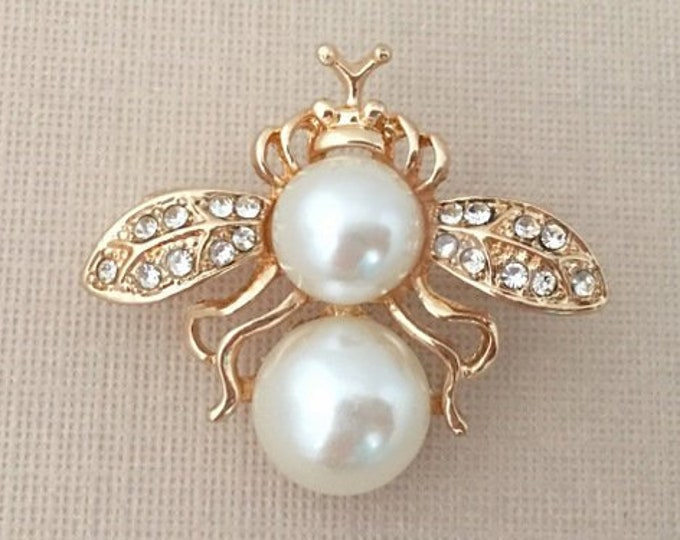 Gold & Pearl Bee Brooch Pin