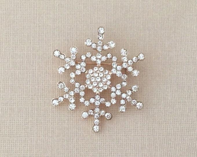 Rose Gold Snowflake Rhinestone Brooch Pin