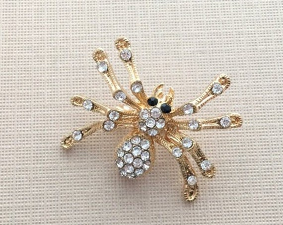 Rhinestone & Gold Spider Brooch Pin