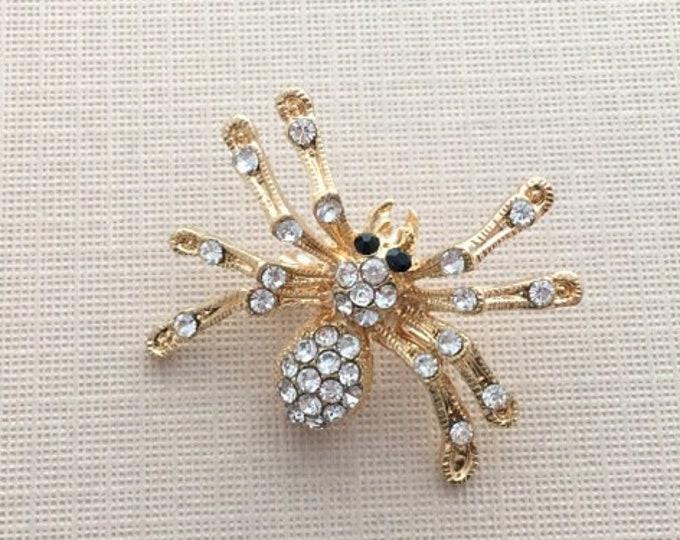 Rhinestone & Gold Spider Brooch Pin
