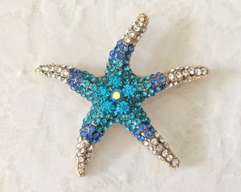 Starfish Brooch.Blue Starfish Brooch.Gold Starfish.broach.beach wedding.crystal brooch.rhinestone pin.bridal accessory.Turquoise Blue