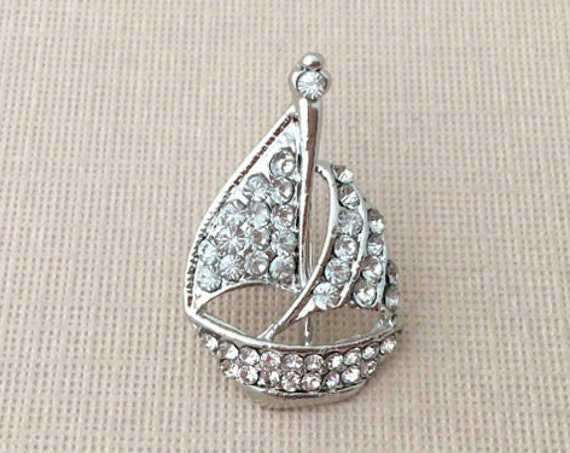 Rhinestone Sailboat Lapel Pin