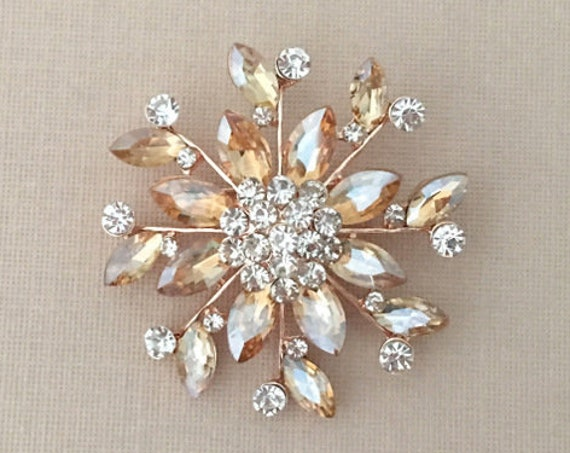 Champagne & Rose Gold Brooch Pin
