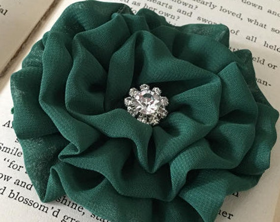 Hunter Green Chiffon Flower Brooch Pin and/or Hair Clip. Choose your button/bead finish. Handmade.