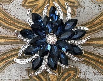 a346699aa Navy Rhinestone BROOCH.Navy Blue Flower BROOCH.Navy Crystal Brooch.Navy &  Platinum Rhinestone Flower Brooch.Navy Blue Wedding Brooch Pin